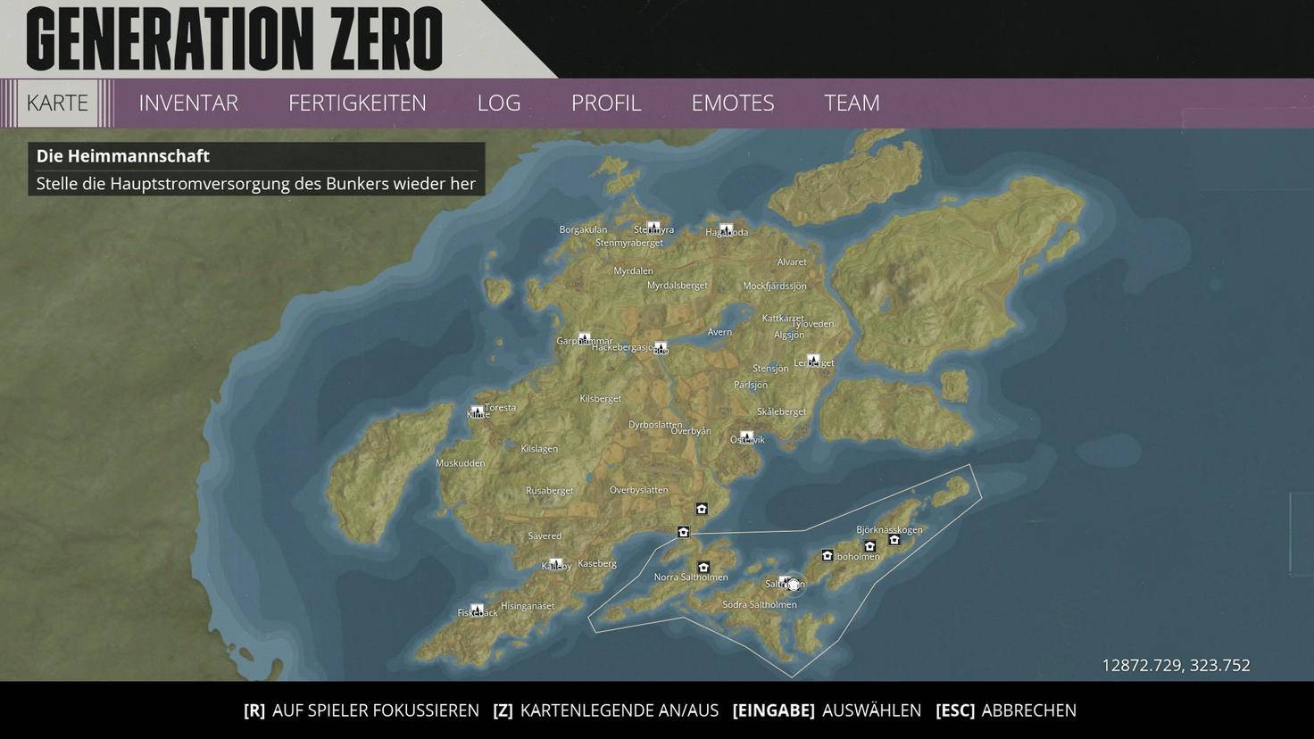 "The complete game world of ""Generation Zero"". In the marked area in the south: the already quite extensive tutorial island from the beta."