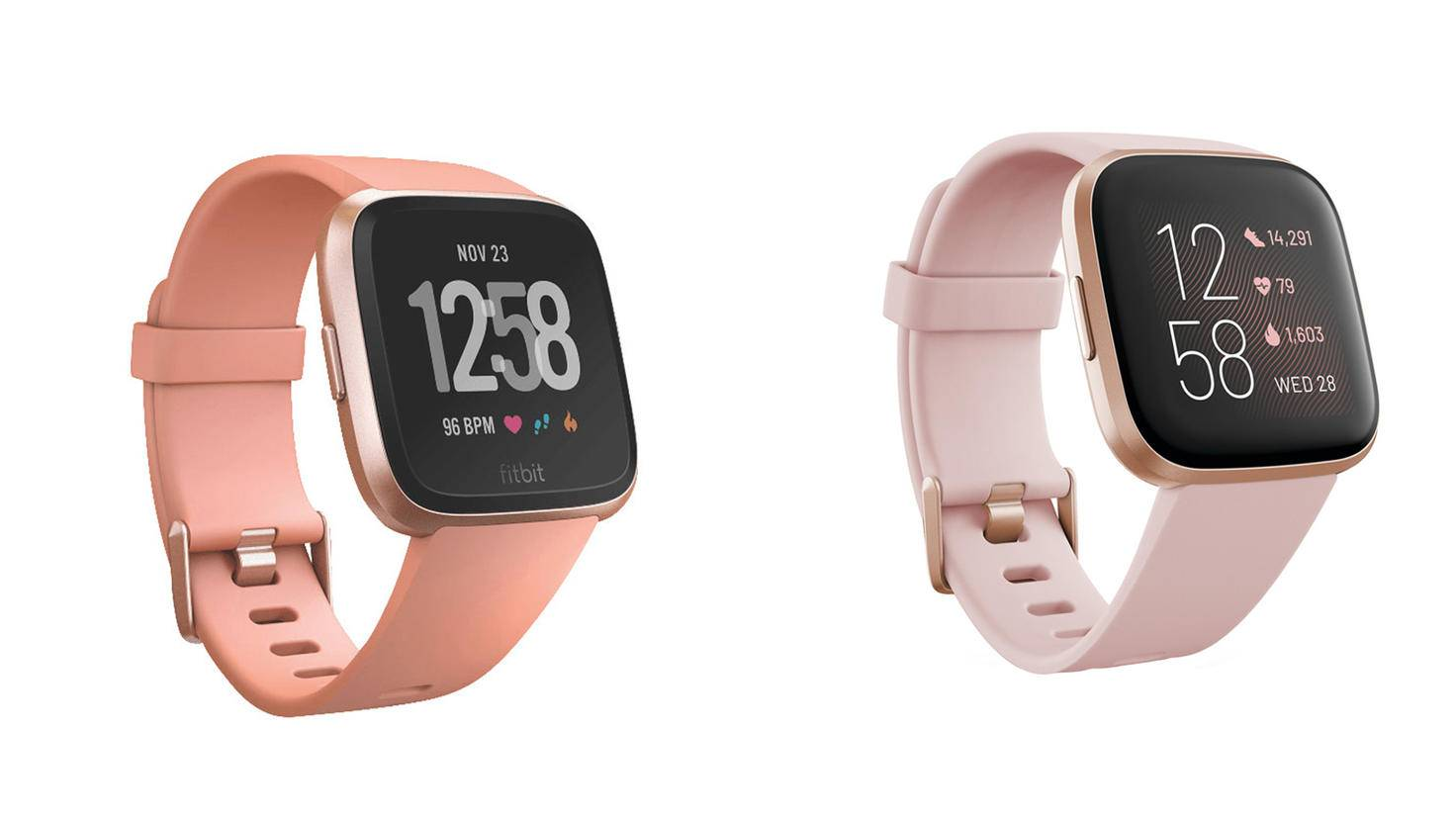 Fitbit Versa (left) and Fitbit Versa 2: The visual differences are marginal.