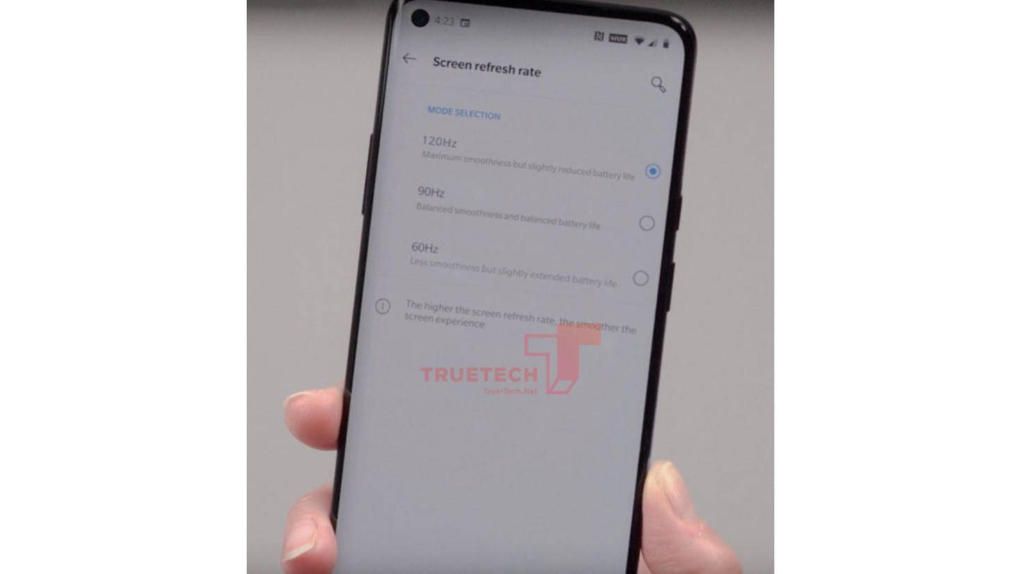 OnePlus-8 pro-leak-refresh rate
