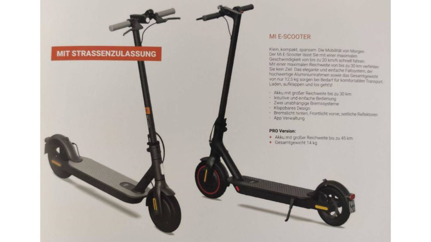 Two Mi E-Scooter models in the exhibition catalog