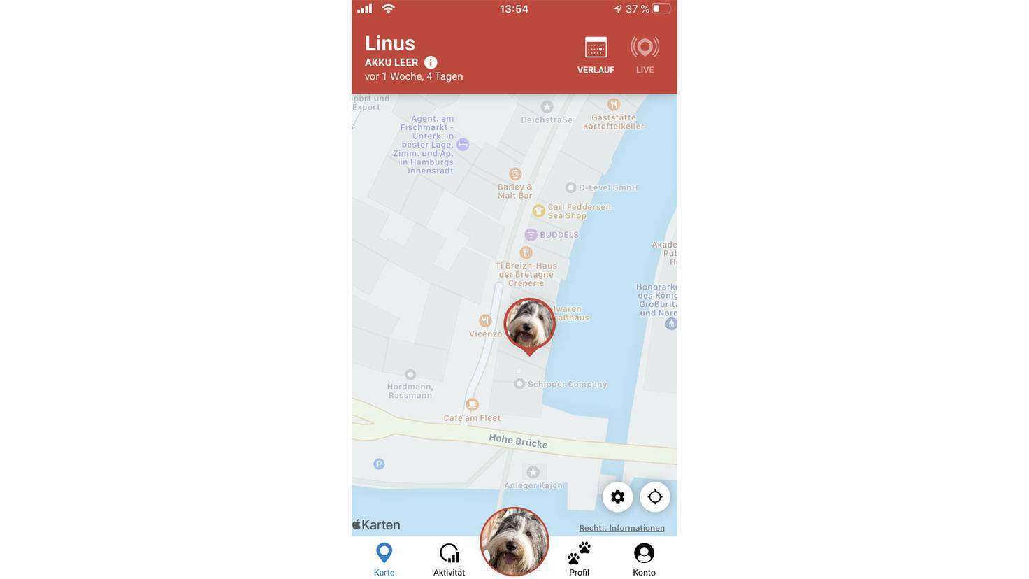 If the live mode is activated, you can track exactly where your dog ran around.